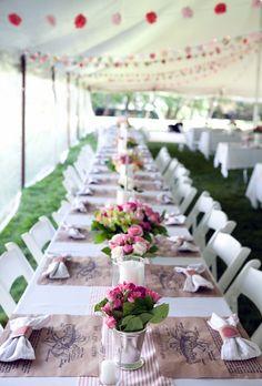 Summer wedding pink table runner decor (Ingalls Photo)