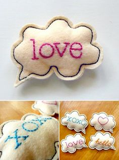 brooches, pillow, gift, craft, sweet bundl, messag, thought bubbles, magnet, word clouds