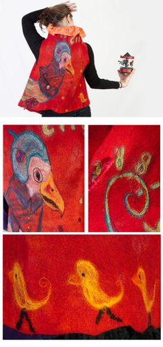 Figurative felt art work women vest  reversible by ArianeMariane