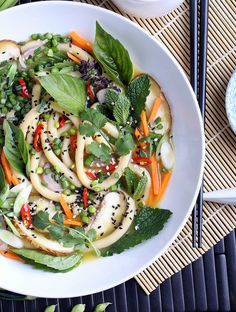 Mint, Basil and Cilantro Udon Noodle Bowl #food #asian #recipe #japanese