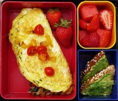 breakfast bento, laptop lunch, kid idea, omelett, wheat toast, strawberri, photo galleries, avocado toast, basebal food
