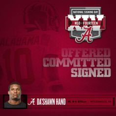 Alabama Football - Signing Day Player Card