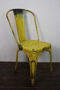 Vintage French steel Tolix  French cafe chair in yellow