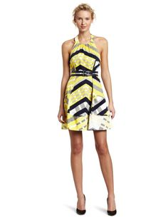 Jessica Simpson Women's Belted Halter Pockets Dress