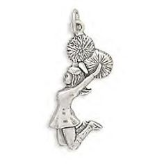 Sterling Silver Cheerleader Charm