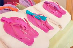 Kids Birthday Party Ideas – Spa Themed Girls Birthday Party. Station 1: Decorate flip-flops