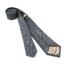 Charcoal Chambray Necktie | Fox & Brie