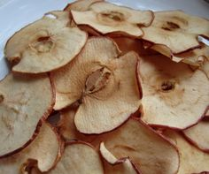 Fruit chips – Slice a pear or apple as thinly as possible. Spread out on a baking sheet lined with foil or parchment paper. Sprinkle with cinnamon and bake at 275 degrees for one hour. Then flip and bake for another hour. Baked Banana Chips – Slice a firm banana and toss in fresh squeezed orange juice. Bake in the oven for one hour, flipping halfway through.