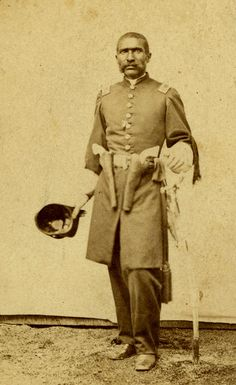 William Matthews was so enthusiastic about the new First Kansas Colored Volunteer Infantry in 1862 that he was one of the first to volunteer. Matthews' enthusiasm spread and he convinced a number of exslaves to enlist in the regiment. The Leavenworth businessman soon was appointed captain, the highest ranking African American officer in the regiment. He is probably wearing two pistols because if captured, he would be executed immediately.