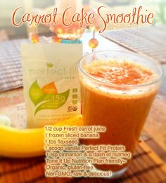 A post workout smoothie that is like having dessert for breakfast :) A Carrot Cake Smoothie! Perfect on the ♥ Tone It Up Nutrition Plan ~ Organic, gluten-free, non-GMO, raw & delicious! www.toneitup.com