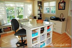craft space, craft tabl, room idea, sew room, diy craft, desk, crafti space, island, craft rooms