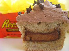 Peanut Butter, Banana, & Chocolate Cupcakes