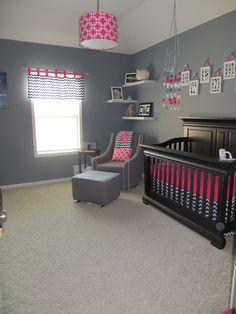 Nursery idea with navy blue and hot pink. Beautifully modern!