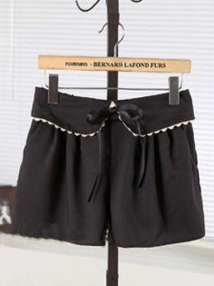 Black Casual Mid Drawstring Waist Bow Ruffles Shorts