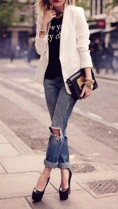 White blazers + boyfriend jeans.