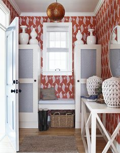 Patterned red #wallpaper +white furniture and accents #entryway #foyer