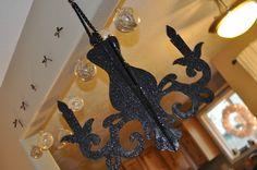 DIY cardboard chandelier. hang pearls from it