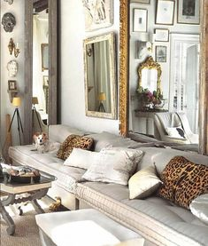 Marcus Design: {leopard pillows, mirrors, wall decor ... }  & I just love these sofa cushions! mirror, modern house design, home interiors, funky decor, living room designs, modern houses, live room, leopard prints, modern homes