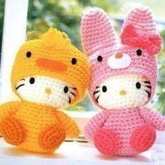 Amigurumi crochet Hello Kitties wearing disguises.