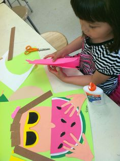 summer art lesson, self portraits, collag, watermelon arts and crafts, eat watermelon