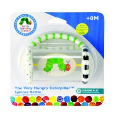 Plastic Spinner Rattle by Kids Preferred- Inspired by Eric Carle's The Very Hungry Caterpillar, this interactive toy features printed graphics, a spinning center and rattling beads sure to keep baby happy while BPA and Phthalate free plastics keep a smile on parent's face.
