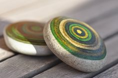 Painted stone green By: Rosana Green