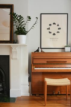 modern vintage and white fireplace mantel