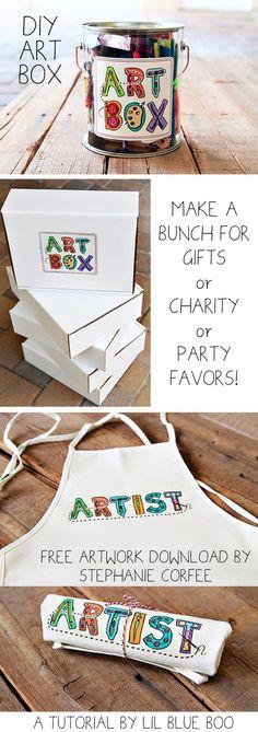 The Gift of Art (DIY Art Box and Free Artwork Download by Stephanie Corfee) via lilblueboo.com #gift #christmas #diy #printable