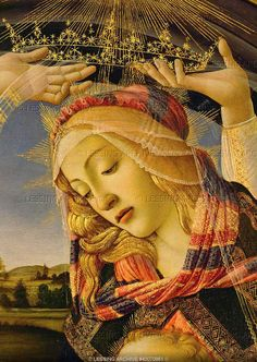 Sandro Botticelli, The Madonna, detail from the Coronation of Madonna and Child, with five angels