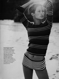 Hair vogue, sonia rykiel, beaches, fashion, style, black white, shorts, beauty, stripes