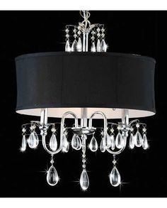 Modern Black Drum Crystal Chandelier Pendant Light