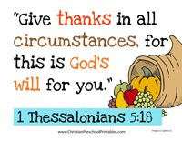 Thanksgiving Bible Verse Printables  Free from ChristianPreschoolPrintables.com