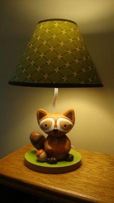 Super cute #raccoon #lamp for a #woodlands #nursery.