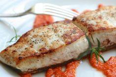Pan Seared Halibut with Romesco Sauce #recipe #dinner #fish