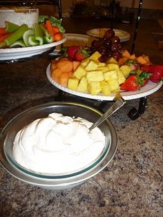 FRUIT DIP    1 (8 oz) cream cheese, softened  1 (7 oz) container Marshmallow Creme