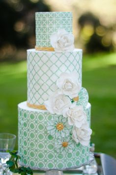 pretty mint, white, and gold cake