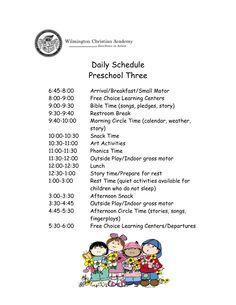 preschool daily schedule | ... Christian Academy Excellence in Action Daily Schedule Preschool Three