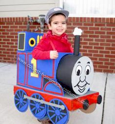 Homemade Thomas the Train Boy Costume: When our three year old little boy declared that he wanted to be Thomas the Train for Halloween, we looked at each other and wondered how we were going