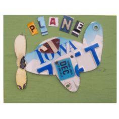 license plate airplane art
