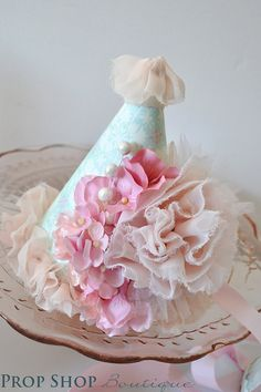 Girl's Shabby Chic Ballerina Flower Garden Birthday Party Hat, Photo Prop, Special Occasion, First Birthday