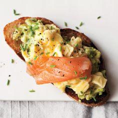 Scrambled Eggs, Avocado, & Smoked Salmon on Toast