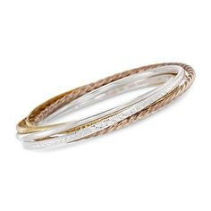 Set of Five Rolling Bangles In Tri-Colored Sterling. Stack on an armful of jingly bangles. This smart-priced, interlocked set offers a cool mix of textures in yellow, rose and white hues. Slip-ons. 14kt yellow, rose and white gold over sterling silver bracelets. #stacked >>Click on the bangles to view more bracelet sets. #bangle #bracelet #tricolor #mixedmetal #slipon