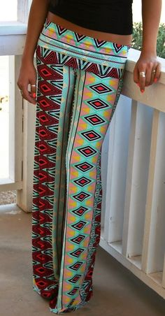 Comfy Aztec Palazzo Pants Check out Dieting Digest