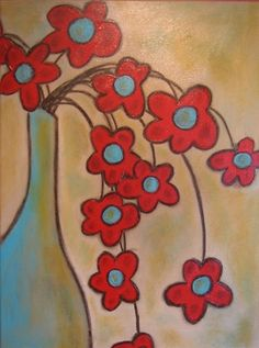 art acrylic paintings, mothers day, artworks, color combos, backgrounds, art class, acrylics, apart makeov, turquois flower