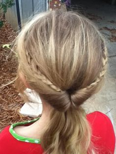 Inside out ponytail with two small braids