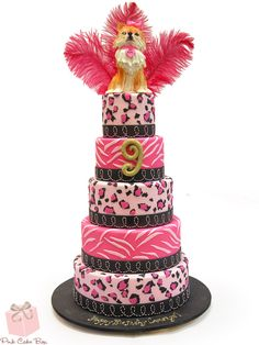 Cheetah and Zebra Birthday Cake with Pomeranian Topper!