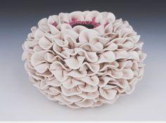 White Ceramic Vase  Decorative Art Flower by WhiteEarthStudio