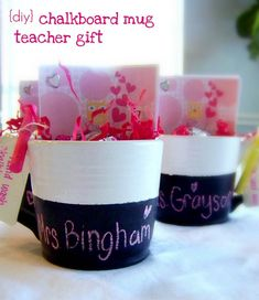 """Great Teacher's Gift - DIY Chalkboard Mugs: paint a dollar store mug with Martha Stewart Chalkboard Paint (also paint the bottom and write a cute saying that can be seen when they drink). Add shredded paper, stickers, candy, pencils and a piece of chalk, with a tag """"handwash"""" and wrip up in celophane with a cute ribbon."""