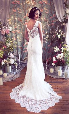"""Cap Sleeved V neck Mermaid Lace Wedding Gown, Low back, Buttons, Train, """"Rosaline"""" Wedding Gown from Schone Bridal. $2,798.00, via Etsy."""