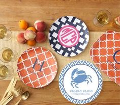 Monogramed plates and platters by Preppy Plates.